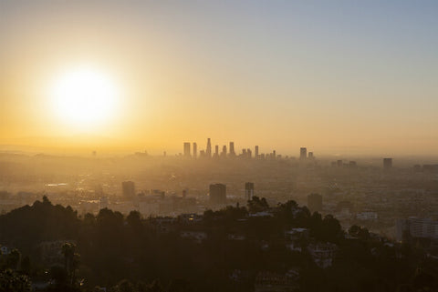 smoggy LA at sunset