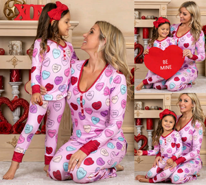 Be Mine Heart Pajamas - Kids and Adult