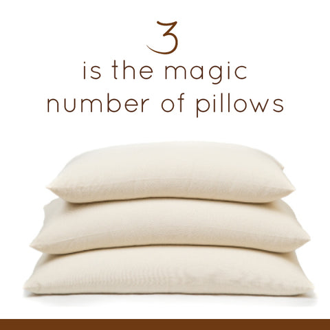 3 is the magic number of pillows ComfyComfy buckwheat pillows