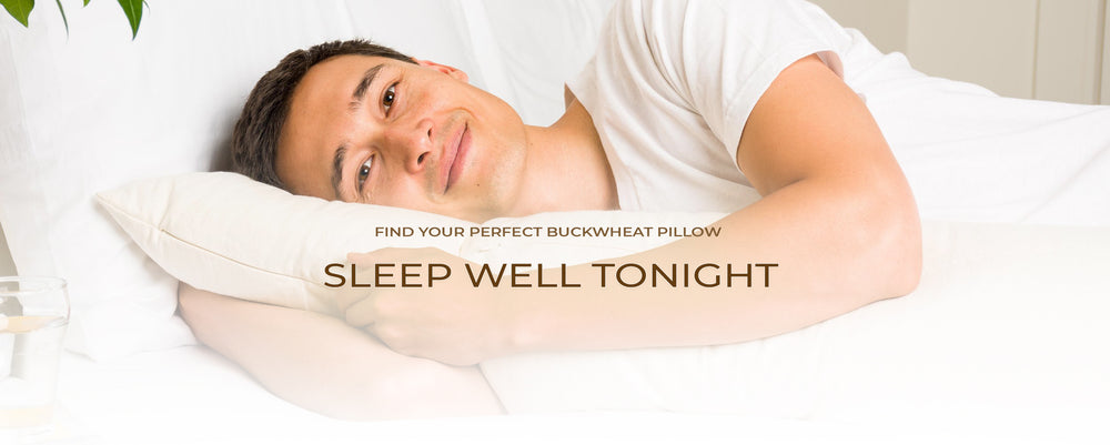 Man sleeping with a buckwheat pillow