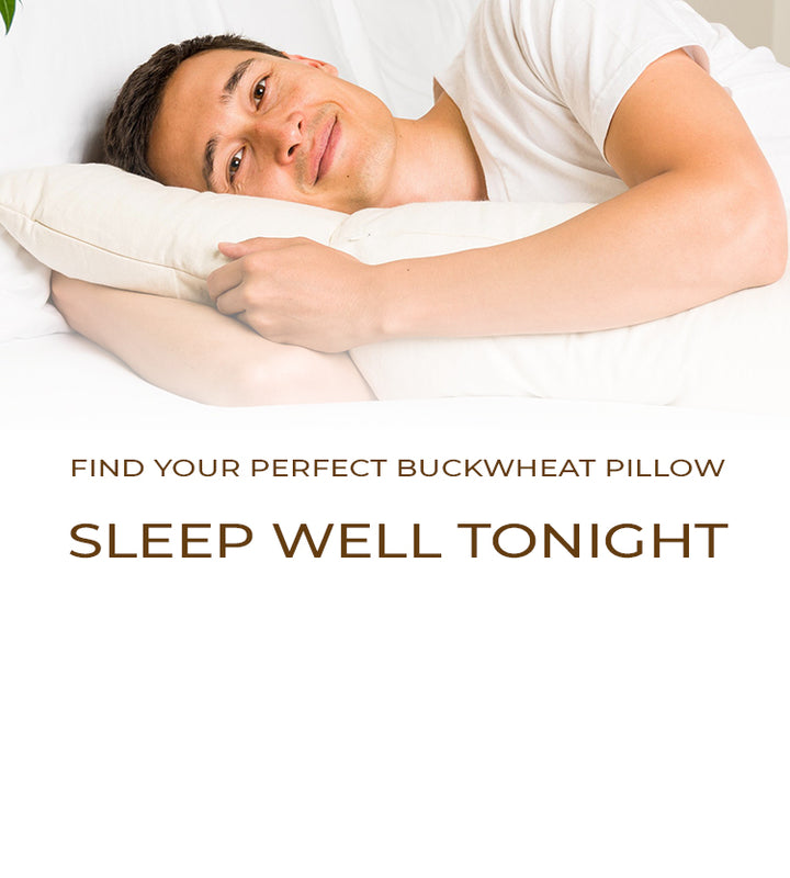 mobile version of man sleeping with buckwheat pillow