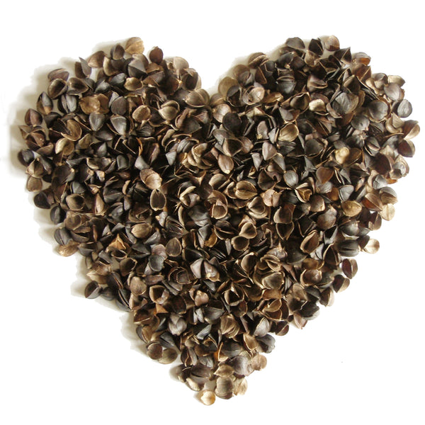 Buckwheat Hull Filling Product Image of buckwheat hulls in the shape of a heart.
