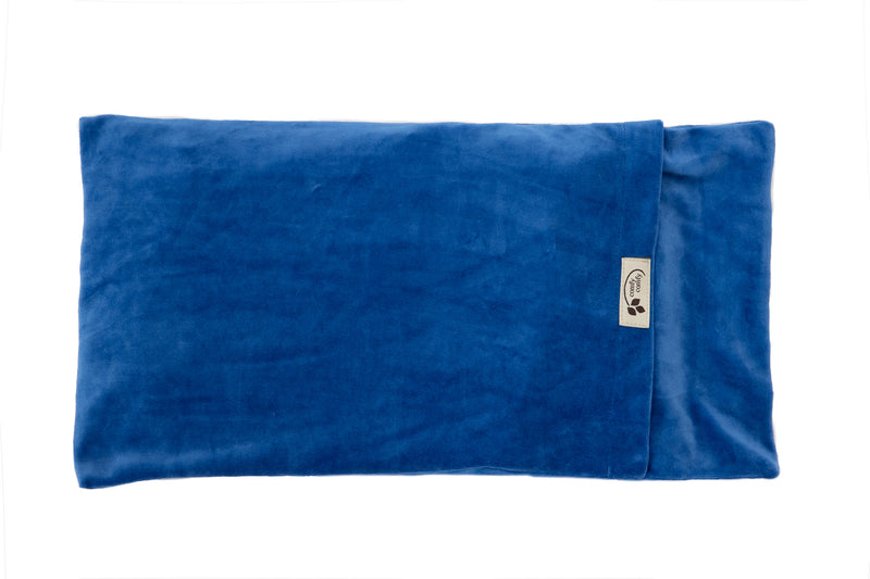 Large ComfyWarmer Flaxseed Heat Therapy Wrap - ComfyComfy in Organic Velour blue