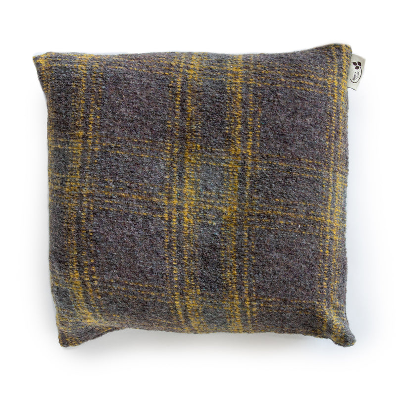 Square Buckwheat Cushion - Yellow Plaid