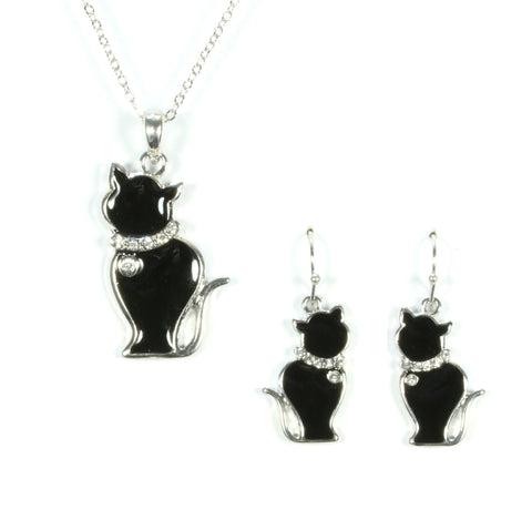 Cat Necklace and Earrings Set - Zen Crystals  - 1
