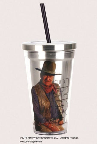 John Wayne Stainless Steel Travel Cup with Straw - Wonder Pop
