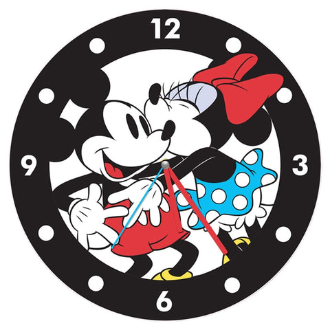 Mickey Mouse & Minnie Mouse Large Cordless Wood Wall Clock - Wonder Pop