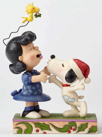 Snoopy Kissing Lucy Mistletoe Figurine