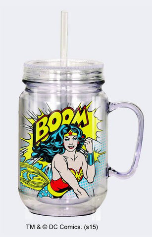 "Wonder Woman ""BOOM"" Mason Jar w/Straw - Wonder Pop"