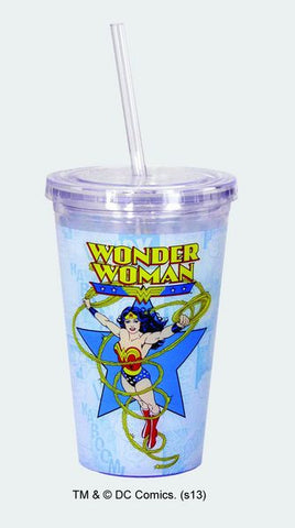 Wonder Woman Cup w/Straw - Wonder Pop