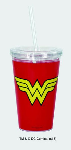 Wonder Woman Logo Cup w/Straw - Wonder Pop