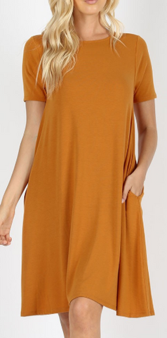 Zenana Short Sleeve Pocket Dress
