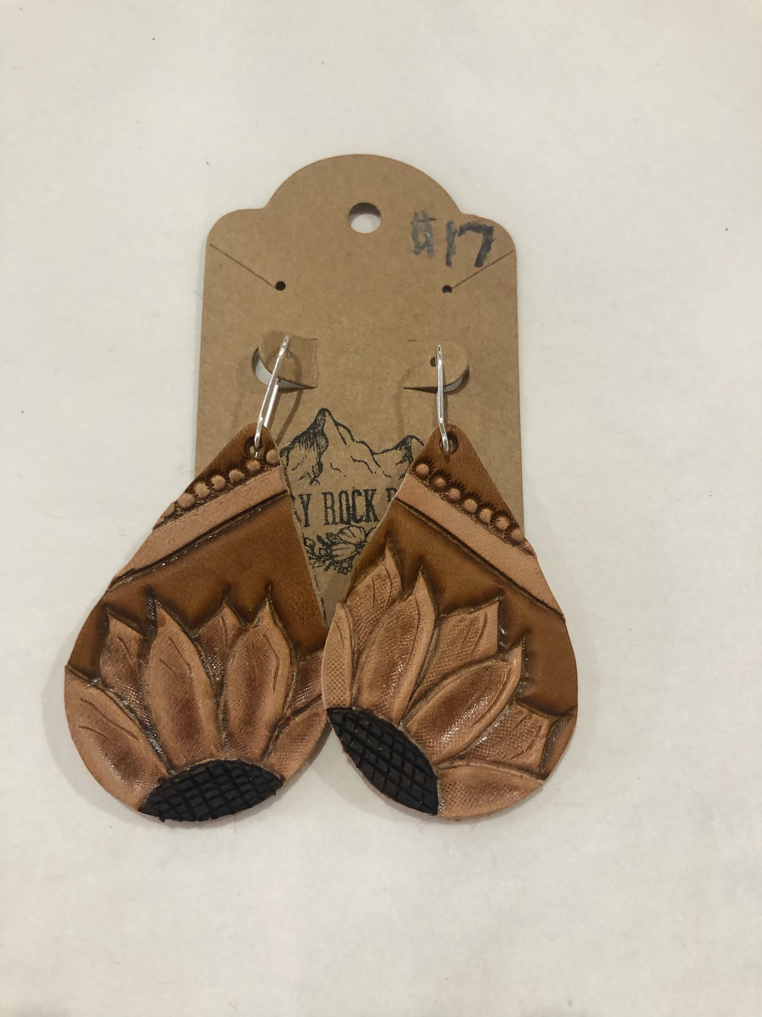 Teardrop Sunflower Tan Earrings