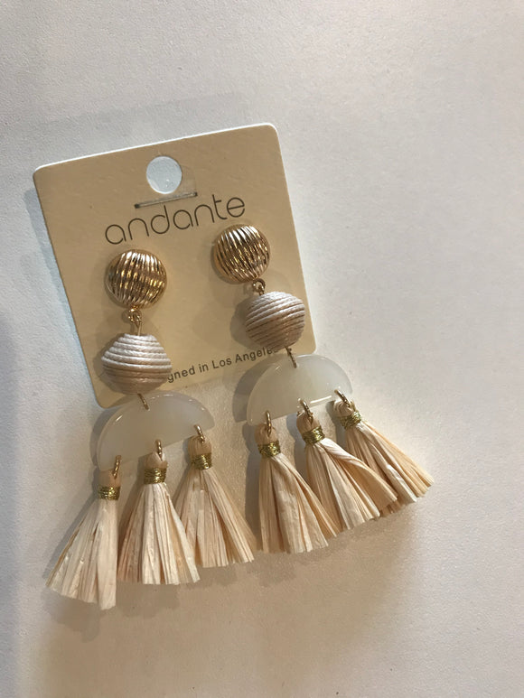 Ball & Raffia Tassel Earrings