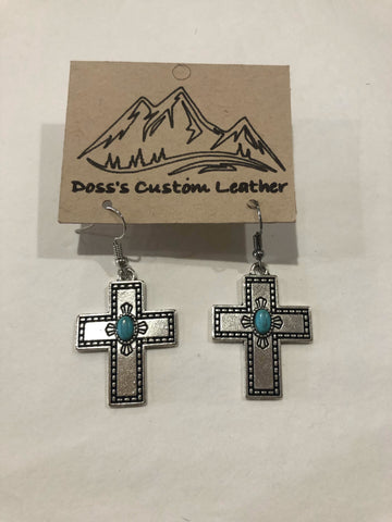 Silver Cross with Turqoise