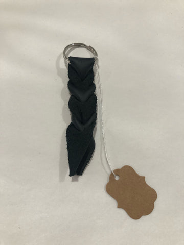 Mini Dark Brown Leather Braided Keychain