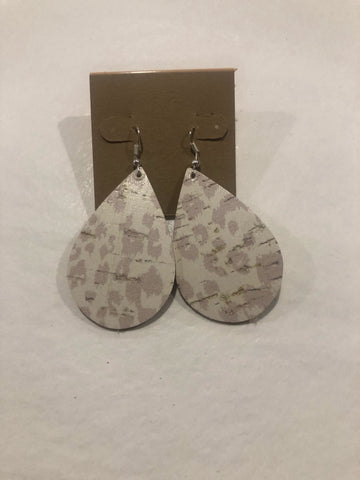 Amy Anne's Distressed White Leopard Earrings