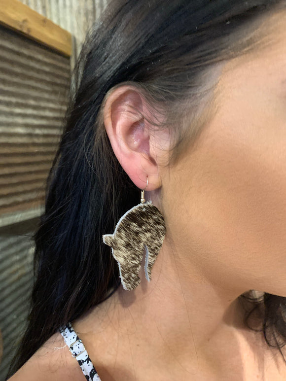 Cowhide Horse Earrings
