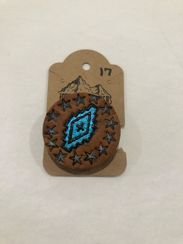 Foggy Rock Designs Blue Western Pop Socket