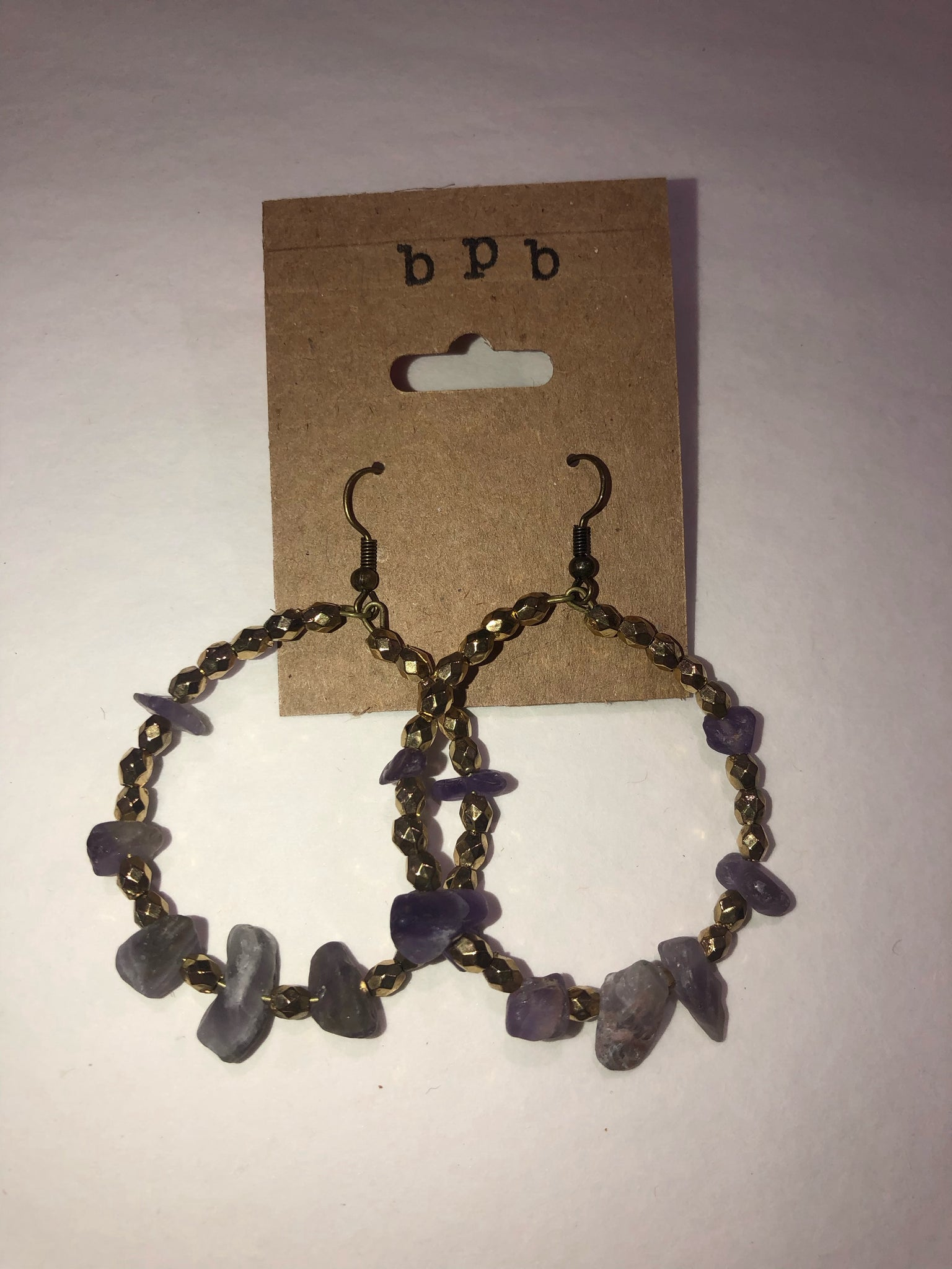 Amethyst and Gold Hoops