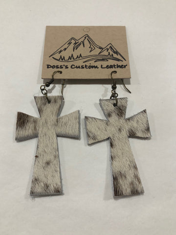 White Cross Earrings with Light Brown