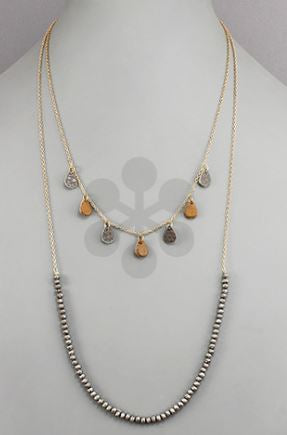 Leather Layered Bead Necklace