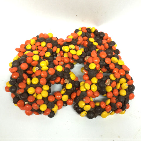 Chocolate Dipped Pretzels with Reese's Pieces