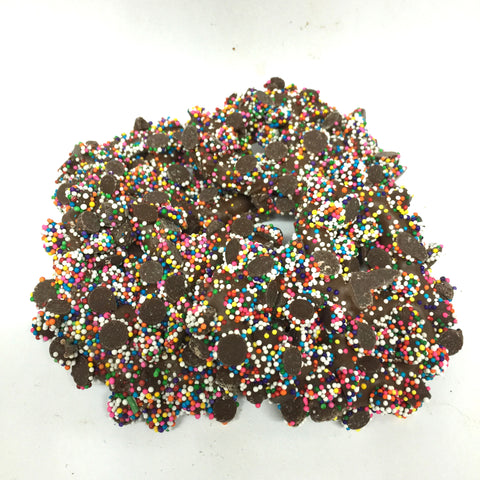 Chocolate Dipped Pretzels with Nonpareils