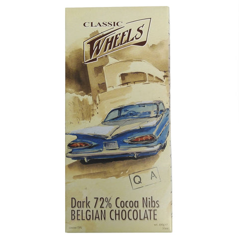 Classic Wheels Belgian Chocolate - 72% Dark Cocoa Nibs