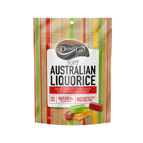 Darrell Lea Soft Australian Liquorice - Mixed Fruit Flavors - 7oz. Peg Bag