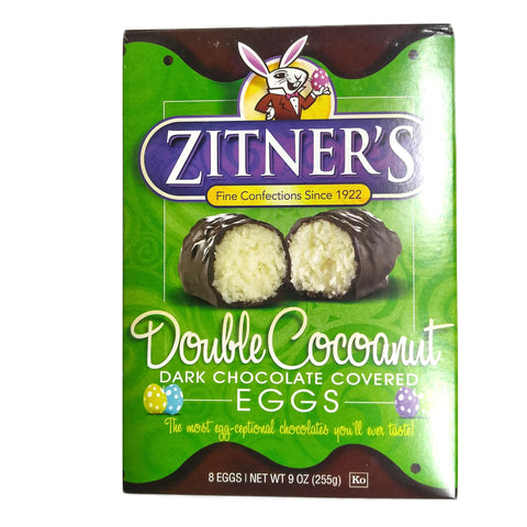 Zitner's Double Cocoanut Dark Chocolate Covered Egg (Box of 8)