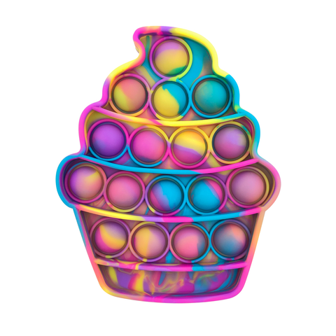 Pop Its - Bubble Fidget Toy (100% Silicone) - Tie-Dye Cupcake