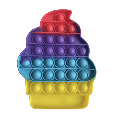 Pop Its - Bubble Fidget Toy (100% Silicone) - Rainbow Cupcake