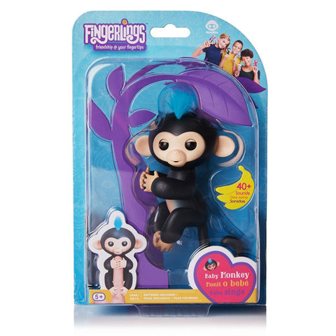 Fingerlings - Interactive Baby Monkey - Finn (Black with Blue Hair)