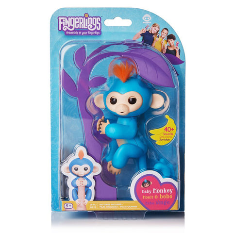 Fingerlings - Interactive Baby Monkey- Boris (Blue with Orange Hair)