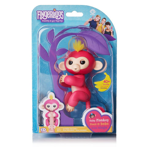 Fingerlings - Interactive Baby Monkey - Bella (Pink with Yellow Hair)