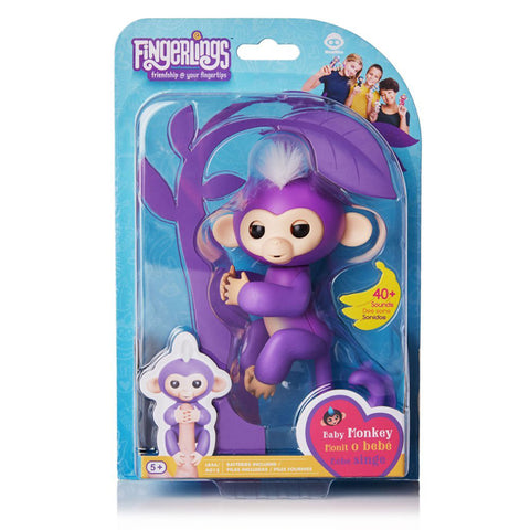 Fingerlings - Interactive Baby Monkey - Mia (Purple with White Hair)