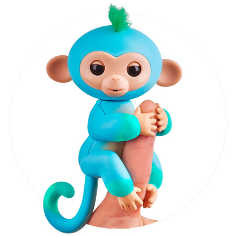 Fingerlings - Interactive 2tone Baby Monkey - Charlie (Blue/Green with Green Hair)