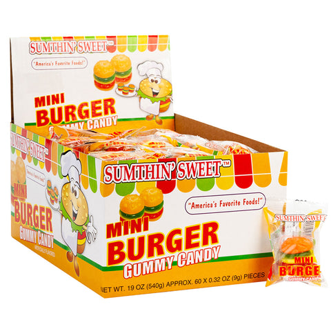 Mini Burger Gummy Candy - Pack of 5 (1.8oz)