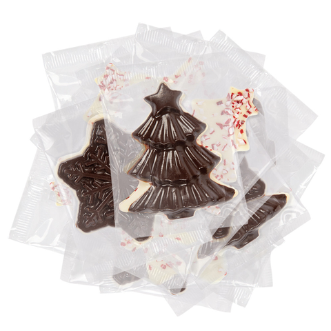 Peppermint Bark Wrapped Assorted Ornamental Holiday Shapes