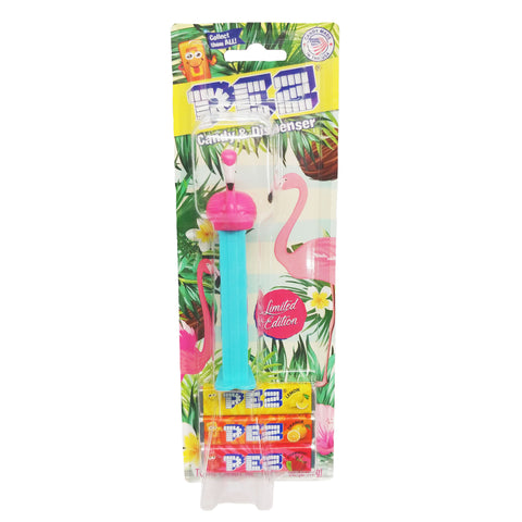 *LIMITED EDITION* PEZ® Pink Flamingo Blue Stem -  Blister Pack