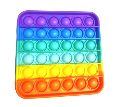 Pop Its- Bubble Fidget Toy (100% Silicone) - Rainbow Square