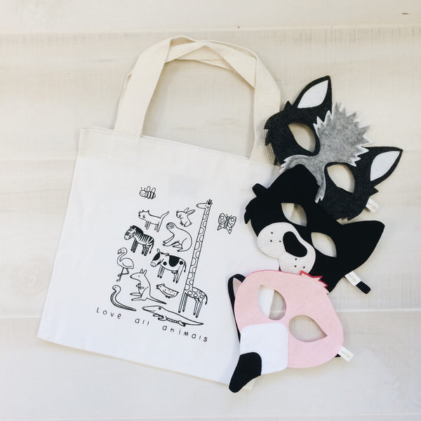 LOVE ALL ANIMALS TOTE BAG- for littles