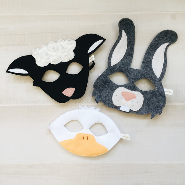 EASTER TRIO- Grey Bunny, Duck, Black Sheep