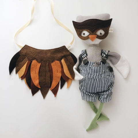 DOLL Brown Owl Mask + Wing Cape SET