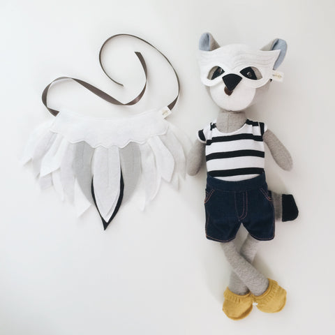 DOLL Snowy Owl Mask + Wing Cape SET