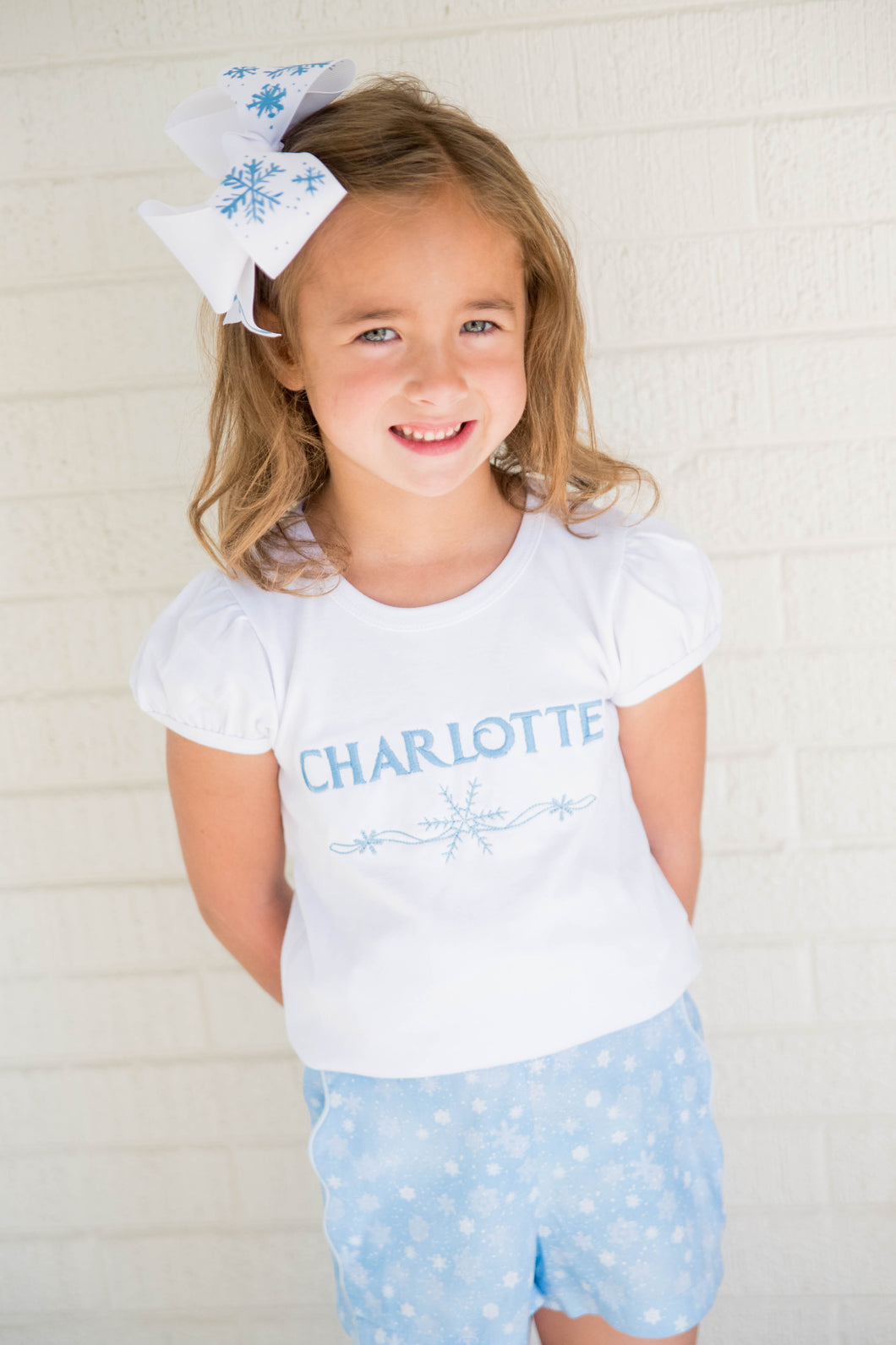 Snowflake Tee Bloomer/Scalloped Short Set, Dreamers Collection