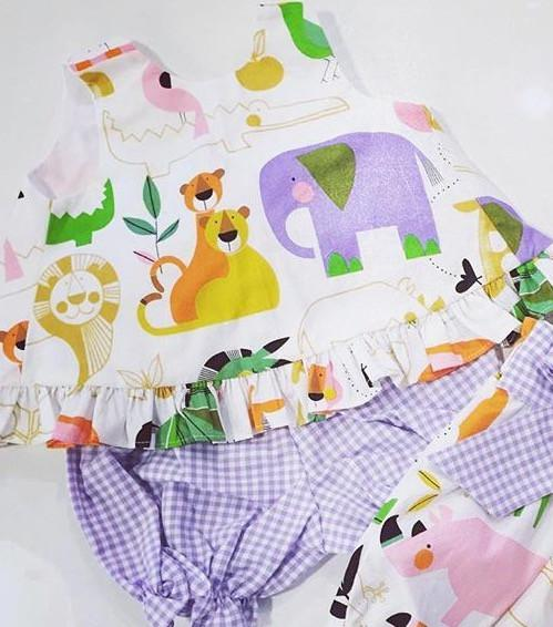 Mae Swing Bloomer/Banded Short Set, Zoo