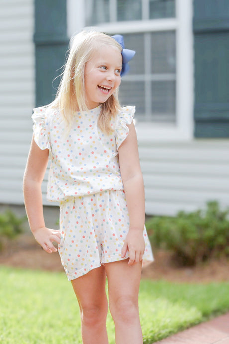 Riley Romper, Polka Dot Knit