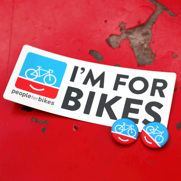 PeopleForBikes bumper sticker and buttons